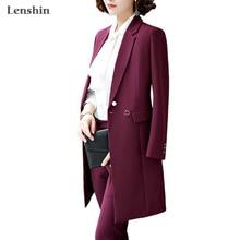 Lenshin mujeres vino rojo poliéster trinchera Vintage ropa de abrigo grueso largo chaquetas a prueba de viento estilo de moda ropa de invierno