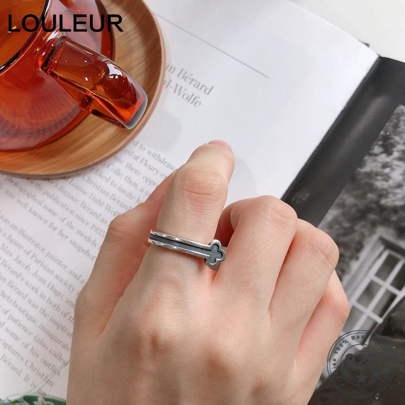 LouLeur Real 925 Silver Sterling Rings Vintage Army Flower Resizable Opening Retro for Women Fashion  Jewelry