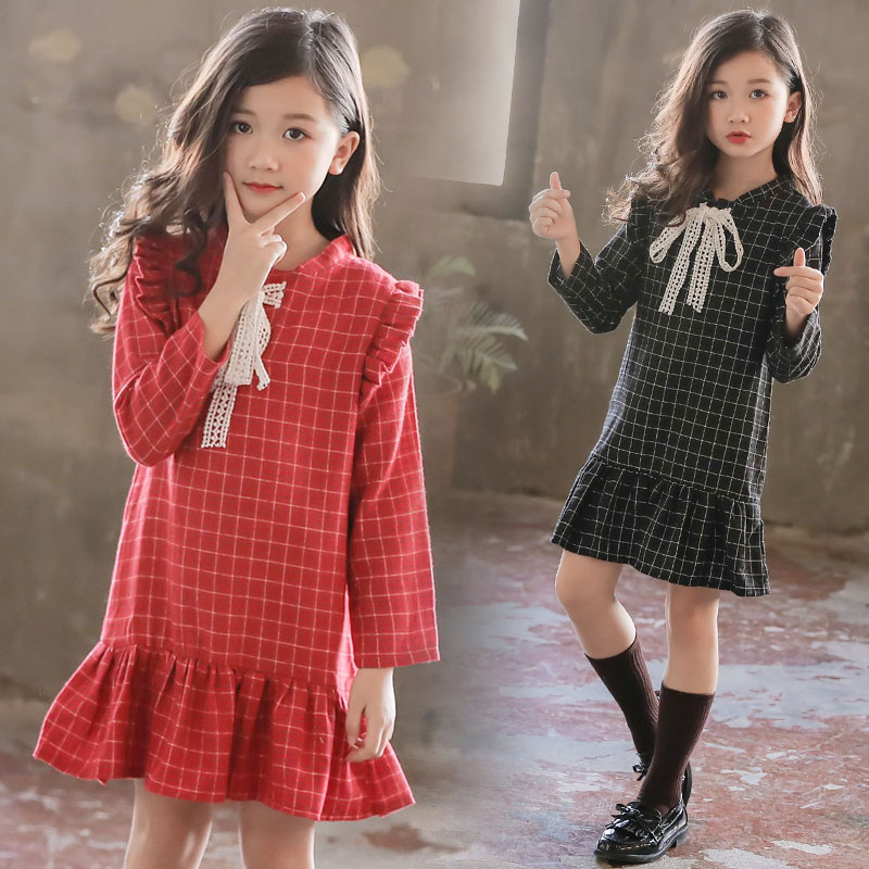 Dress Party-Clothes Spring Autumn Full-Sleeve Plaid Baby-Girls Kids Fashion V-Neck Knee-Length
