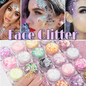 Mermaid Jelly Face Glitter Gel Face Jewels Body Eye Face Sequin Gel Holographic Chunky Glitter Flash Drill Festival Decoration(China)