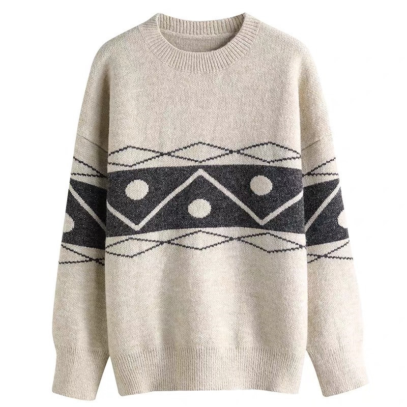 Focal20 Streetwear Geometric Women Sweater Top Loose Crew Neck Female Jumpers Pullovers Casual Spring Autumn Lady Sweaters Tops 2