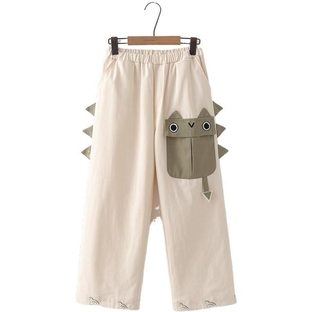 Women Pants Cartoon Dinosaur Embroidery Straight Pants Autumn Elastic Waist Pants Sweet Style Korean Ladies Basic Trousers