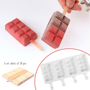 Forma de treliça moldes de gelo de silicone pop 4 cavidades caseiras molde de sorvete oval com varas de madeira para diy sorvete molde de picolé