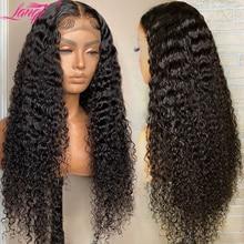 Parrucca di capelli umani ricci crespi all'ingrosso Lanqi parrucca di chiusura in pizzo 4x4 parrucche di capelli umani anteriori in pizzo peruviano per donne nere Non Remy