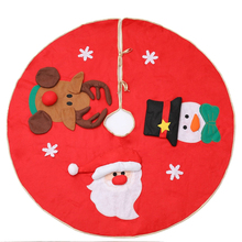 100cm Red Xmas Tree Skirt Classic Non-woven Cloth Christmas Tree Skirts Santa Clause/Snowflakes/Snowman/Elk Party Decorations elk santa clause pullover christmas hoodie