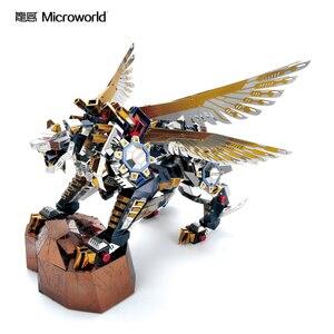 Image 3 - Microworld 3D מודלים נמר מעופף דגם DIY לייזר חיתוך פאזל לוחם דגם 3D מתכת פאזל ילדים צעצועים למבוגרים מתנות