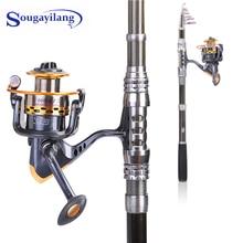 цена на Sougayilang Spinning Telescopic Fishing Rod Set And Carp Fishing Reel 1.8m-3.3m Carbon Fishing Pole Sea Casting Fishing Rods