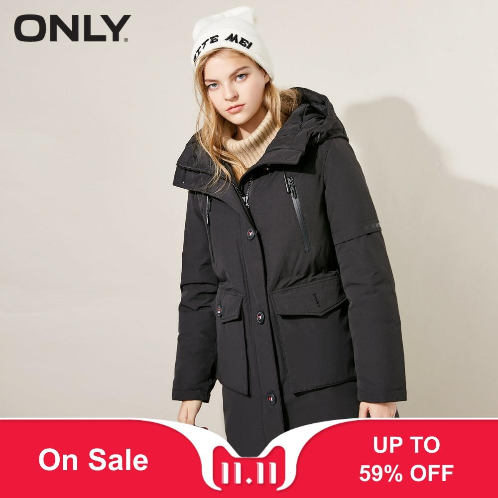 ONLY  Womens' Winter New Edgy Button Pocket Hooded Down Jacket Contrast  Practical Duck Down Hood Design|118312593