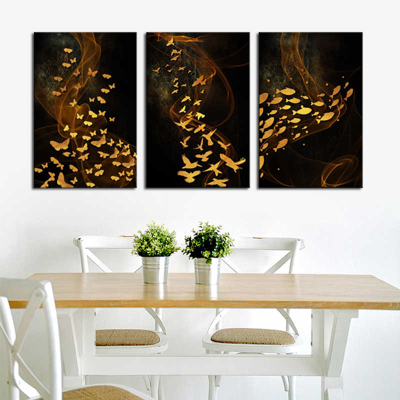 Black and Gold Canvas Painting Prints Wall Art Flying Birds Pictures Butterfly Paintings on Canvas Abstract Fish Paintings