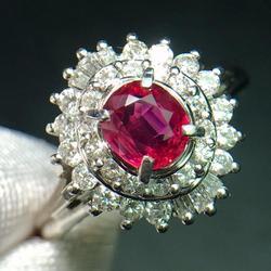 Рубиновое кольцо, Pure Pt900, ювелирное изделие, Настоящее натуральное, 0.53ct, Красный Рубиновый бриллиант, ювелирное изделие, юбилей, женские коль...