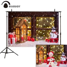 Allenjoy christmas background photography snowman gifts wooden window bokeh winter sledge for children backdrops photophone