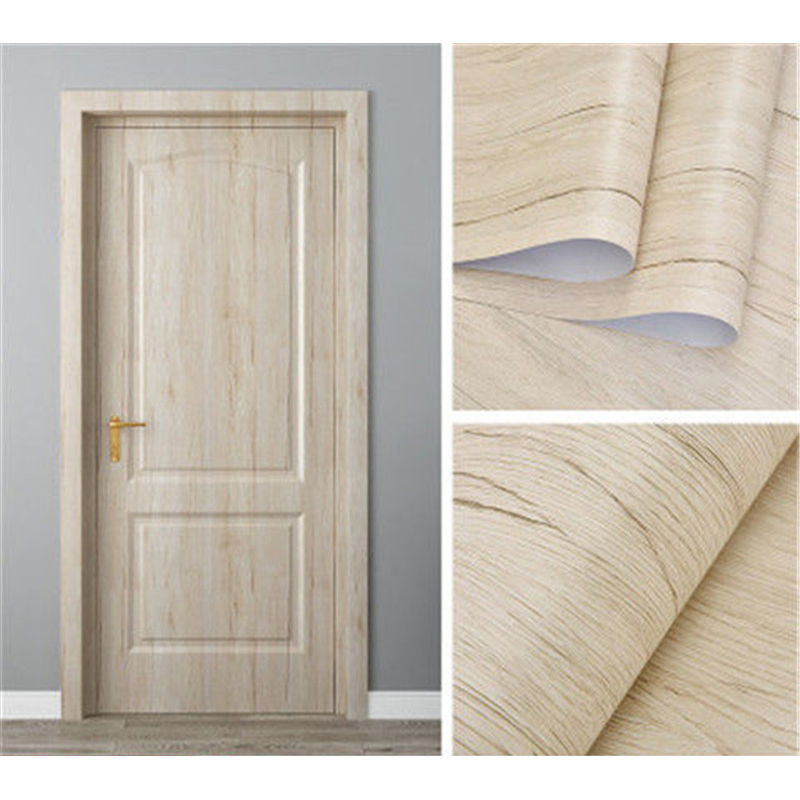 White Oak Wood Grain Wallpaper On The Door Home Renovation Decor Sticker Waterproof Fireprevention Kitchen Bathroom Wall Sticker