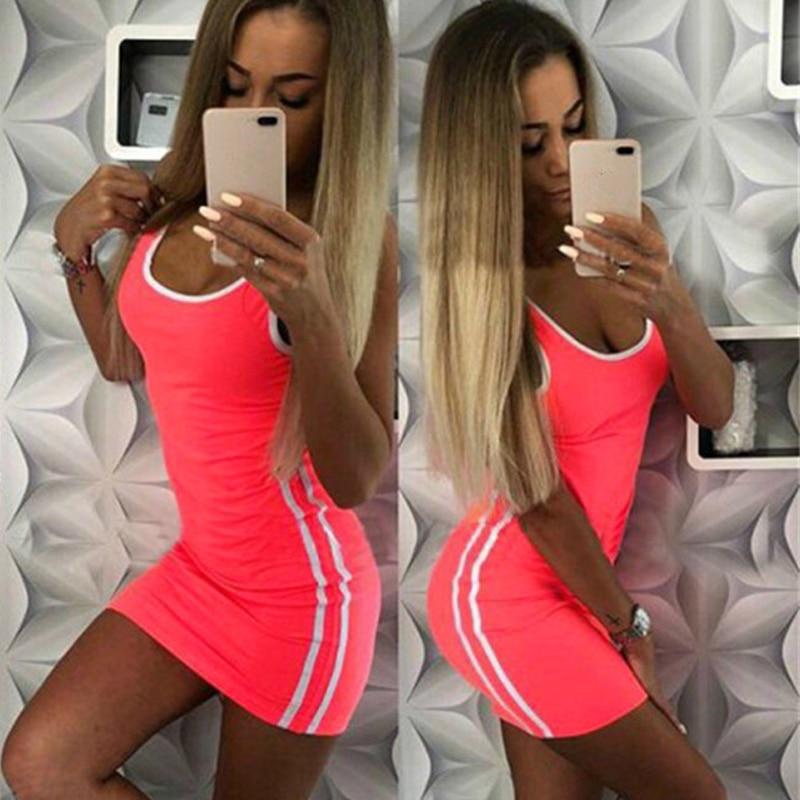 Women Casual Sport Dress Patchwork Design Side Stripe Decor O-Neck Slim Mini Sportswear Tennis Mini Dress 8