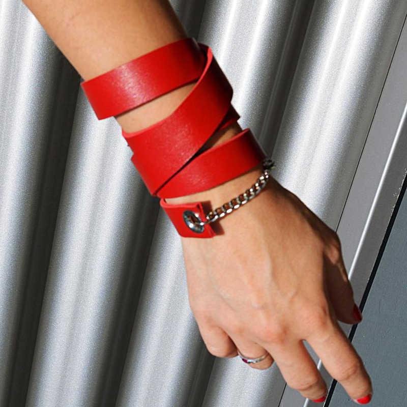 YD&YDBZ New Designer Leather Bracelet For Women Leather Jewelry Red Chain Bracelets Punk Bohemia Jewellery Fashion Accessories