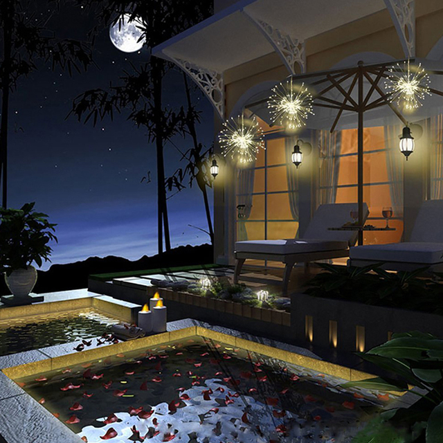 Firework LED String Outdoors Waterproof Solar Party Lights