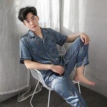 Весна и лето мужчины пижамы вискозные волокна кардиган напечатано пижамы мода воротник Шелковый досуг топы пижамы