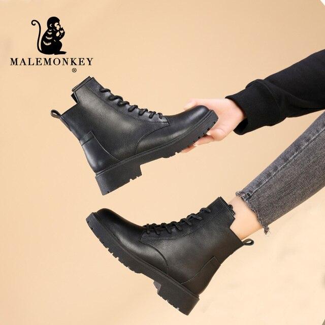 Модные Зимние Женские ботинки Из Натуральной Кожи 5