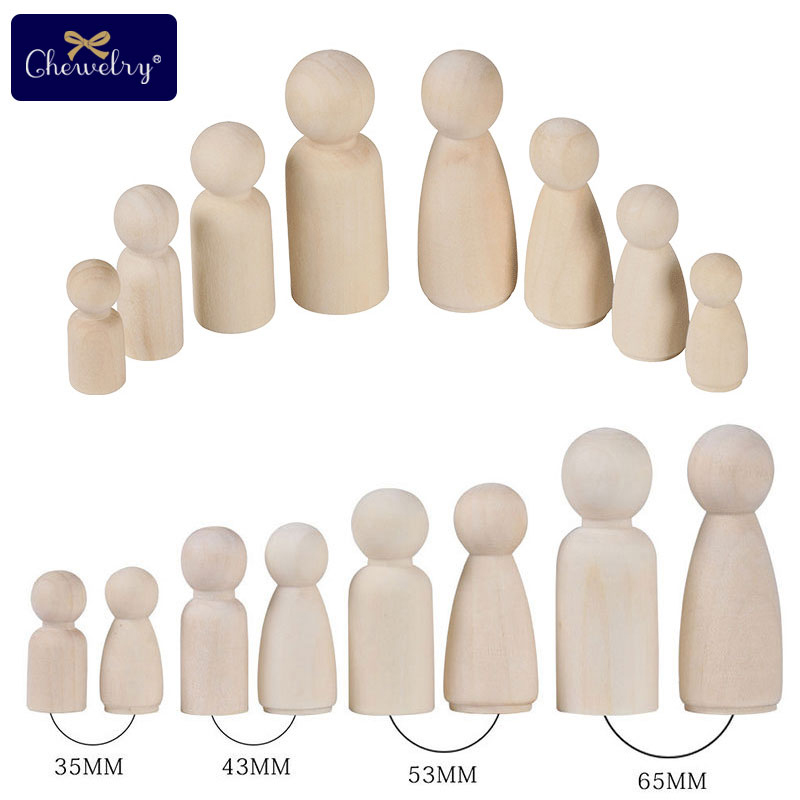 1Set Wooden Peg Dolls 50pcs Maple Wood Unpainted Family Wooden Dolls Baby Toy Weddings Dolls Decor Montessori Toys Baby Products