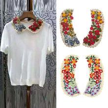 1 par de tecido feminino flor venise rendas costura applique falso decote colar blusa falsa acessórios de roupas scrapbooking