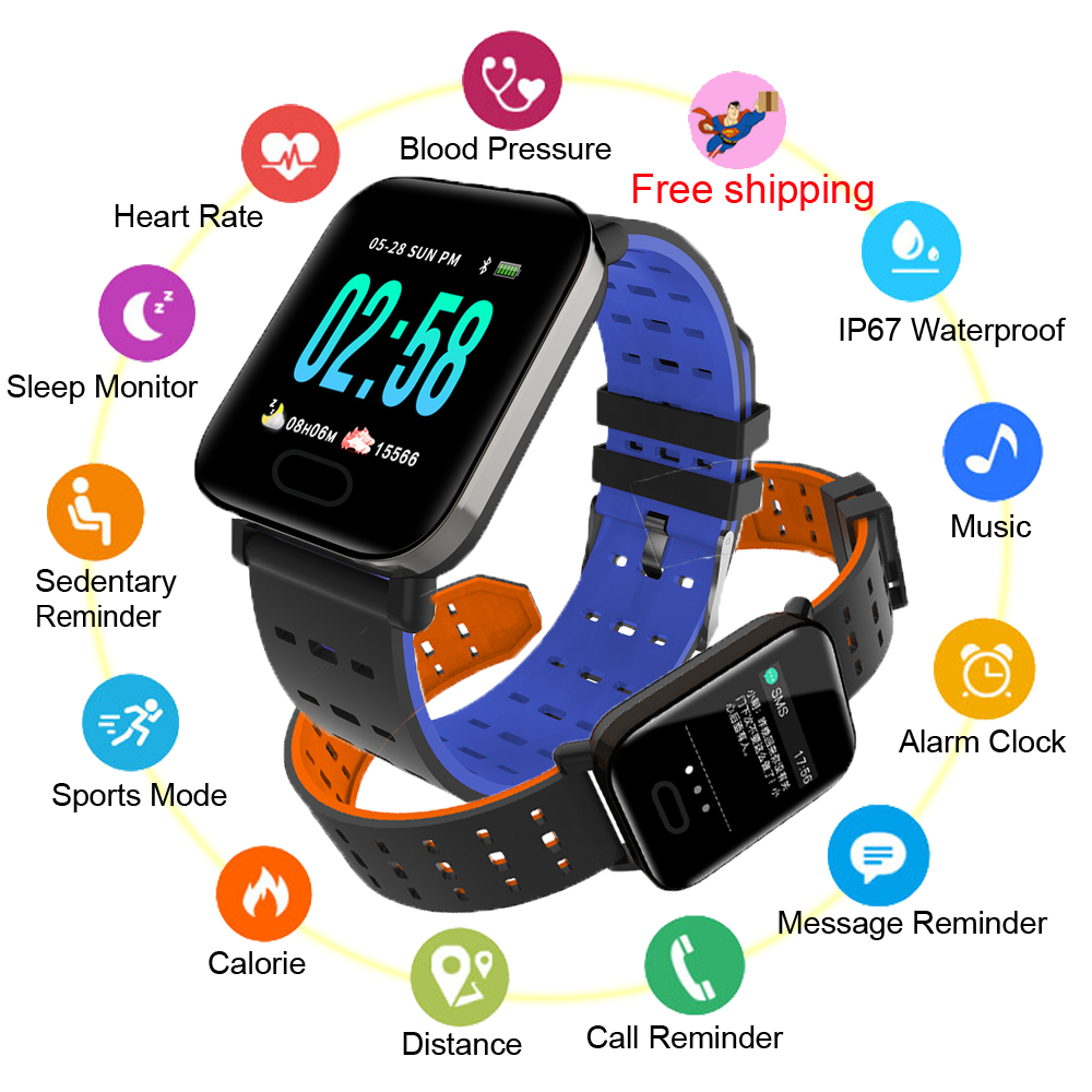 A6 Smart Watch For Men Women, Sports Fitness Tracker Without APP Blood Pressure Weather Forcast For Apple Android Xiaomi,Huawei image