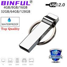 2020 yeni BiNFUL usb flash sürücü 32gb kalem sürücü 4GB 16GB pendrivne 64gb su geçirmez metal memory stick 128GB 8GB flash sürücü LOGO