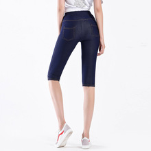 Female Faux Jeans Pocket Leggings High Waist Stretch Denim Shorts Knee Length Women Summer Thin Short Pants Plus Large Size 5XL