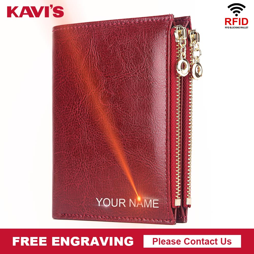 KAVIS Genuine Leather Free Engraving Female Wallet Crazy Horse Women Wallets Coin Purse Short Money Bag Quality Walet Mini