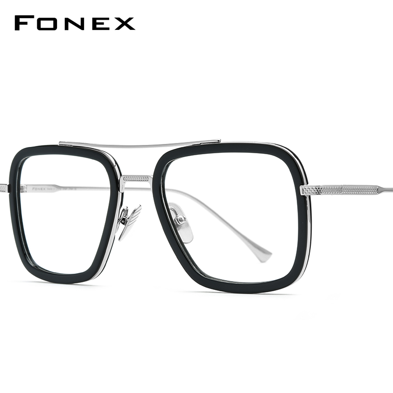 FONEX Pure Titanium Acetate Men Retro Tony Stark Glasses Frame Myopia Optical Edith Prescription Eyeglasses For Women 8512