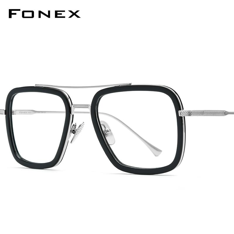 FONEX Pure Titanium Acetate Men Retro Tony Stark Glasses Frame Myopia Optical Edith Prescription Eyeglasses For Women 8512