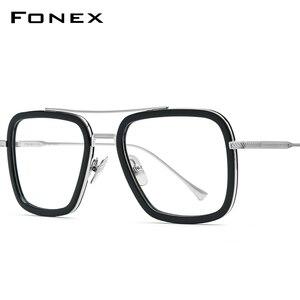 Image 1 - FONEX czysty tytan octan mężczyźni Retro Tony Stark okulary rama krótkowzroczność optyczne Edith okulary korekcyjne dla kobiet 8512