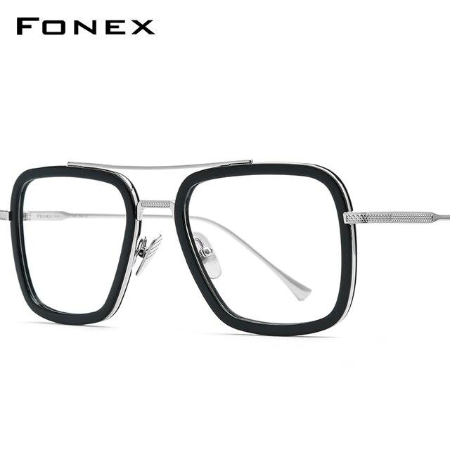 FONEX czysty tytan octan mężczyźni Retro Tony Stark okulary rama krótkowzroczność optyczne Edith okulary korekcyjne dla kobiet 8512