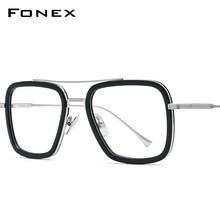 Fonex Pure Titanium Acetaat Mannen Retro Tony Stark Brilmontuur Bijziendheid Optische Edith Recept Bril Voor Vrouwen 8512