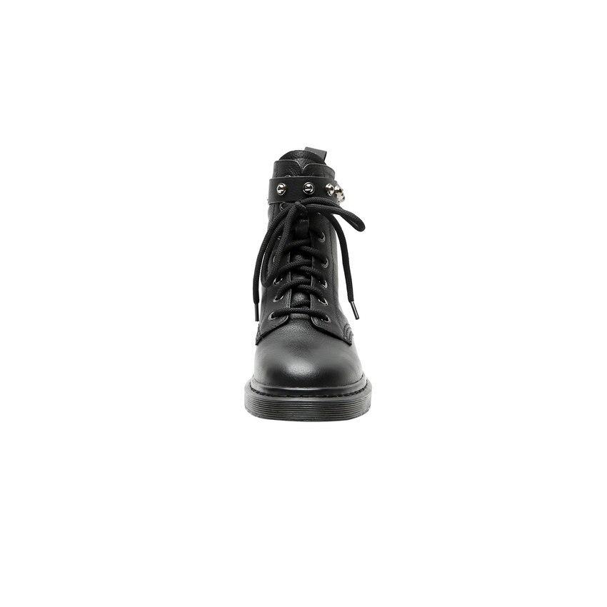 Image 3 - QUTAA 2020 פרה עור עגול הבוהן תחרה למעלה סתיו חורף מקרית אמצע עגל מגפי עקב נמוך כיכר אופנה מסמרת נשים נעלי Size34 42מגפיים אמצע שוקיים   -