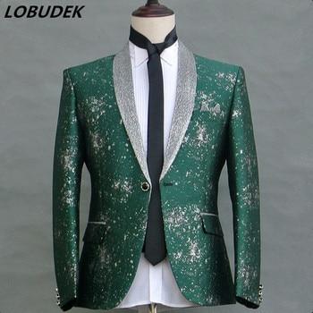 Male Singer Fashion Printing Slim Suit Jacket Host Stage Performance Blazer Coat Wedding Groom Blazers Nightclub Host Costume