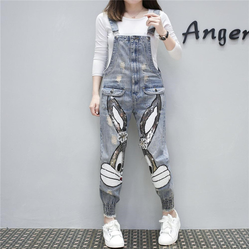2020 New Women High Waist Long Denim Overalls Ripped Stretch Dungarees Rabbit Sequin Beading Jumpsuits