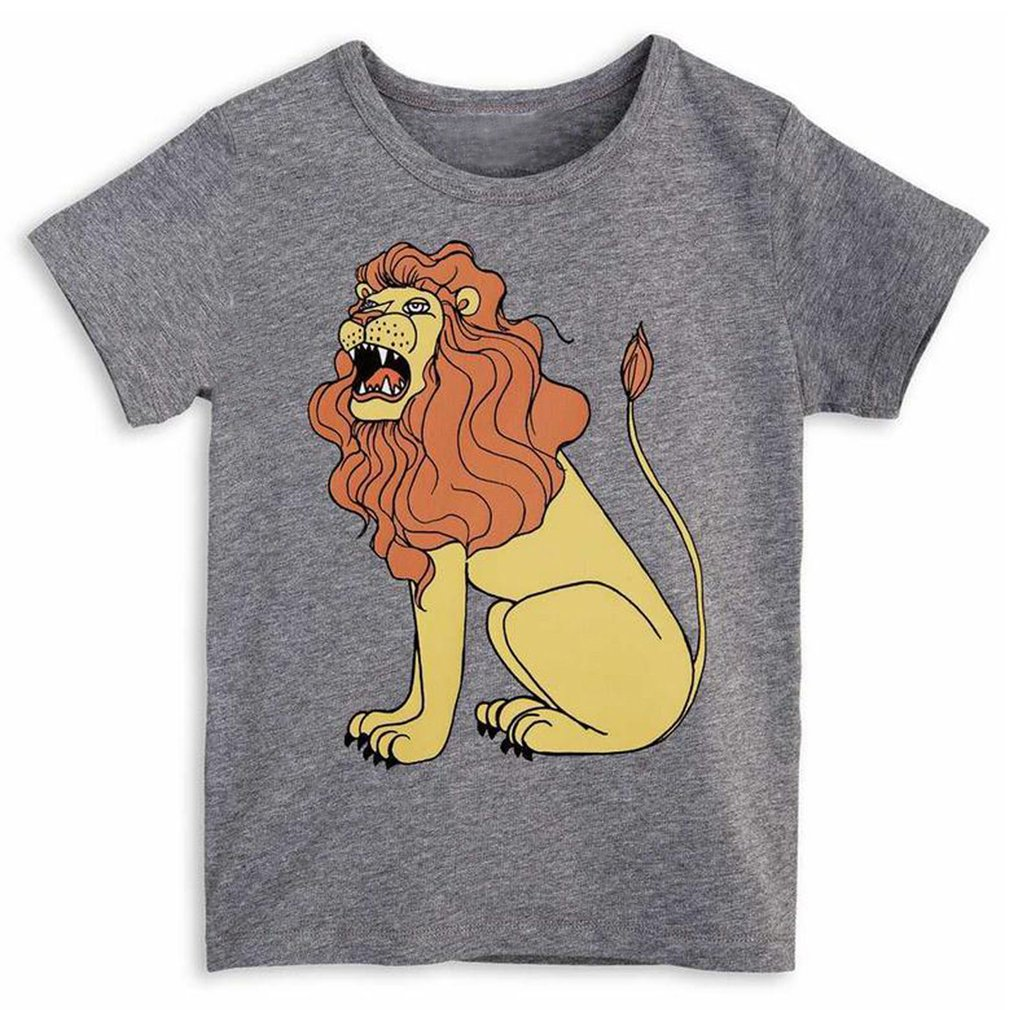 Short-sleeved Pullover T-shirt With Fashion Lion Pattern Print For Summer Round Collar Soft Cotton Unisex Boy Girl T-shirt Top