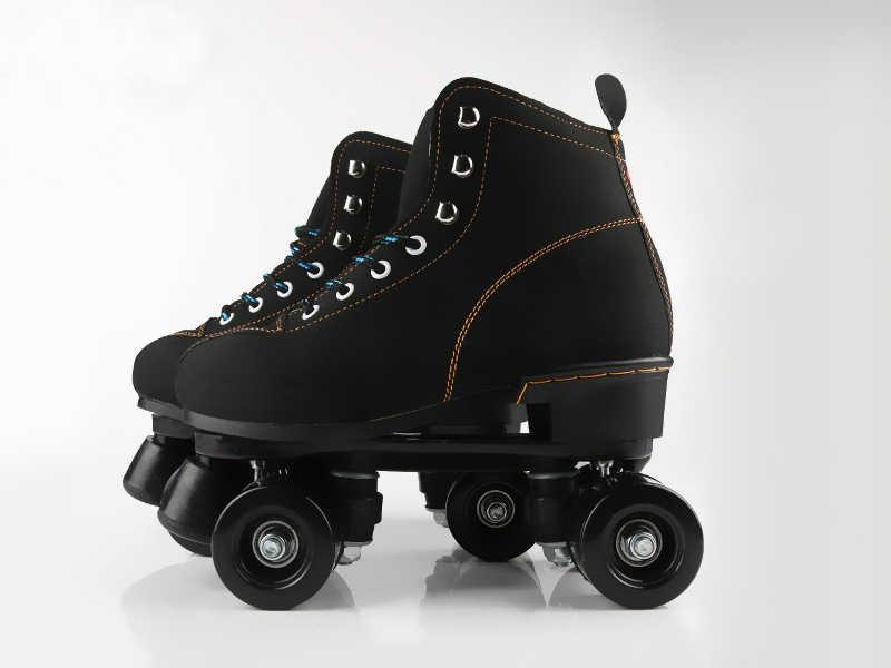 Unisex çift Hat Paten Ayakkabı Yetişkin Pu Deri Kapalı Quad Paralel Paten Ayakkabı Botları 4 Pu Tekerlekler Kara Fren Nefes Paten Ayakkabıları Aliexpress