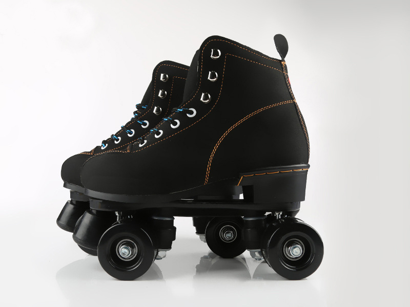 Unisex Double Line Adult  PU Leather  Indoor Quad Parallel Skates Shoes Boots 4 PU Wheels Black With Brake Breathable