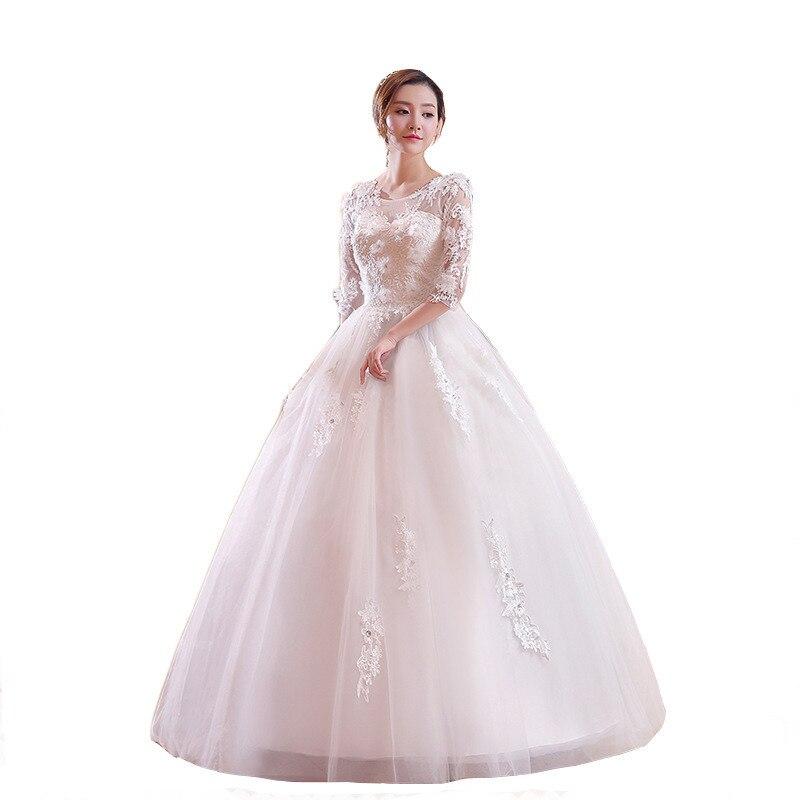 YULUOSHA Modest Dress For Women Lace Brush Train Backless Appliques Wedding Dresses Long Sleeve Wedding Dress Vestido De Noiva