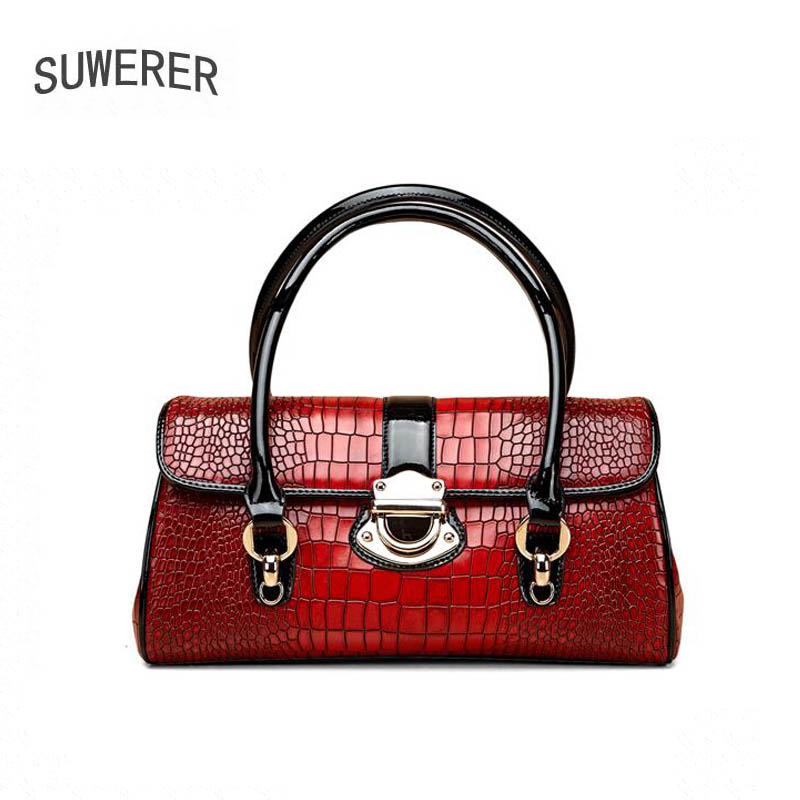 SUWERER 2020 New Women Genuine Leather Bag fashion famous brand bags Luxury handbags real cowhide women leather bag