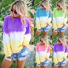 Fashion Gradient  Sweatshirt Women's Casual O-Neck Gradient Contrast Color Long Sleeve Top Pullover Sweatshirt plus size contrast insert long sleeve crew neck sweatshirt