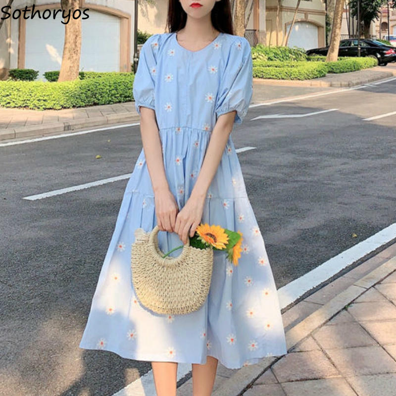 Dress Women Floral Short Sleeve Pleated Fashion Loose Korean Style Casual Students Sweet Lovely Female Dresses Ulzzang Mid-calf