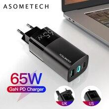 65W GaN USB şarj aleti hızlı şarj 4.0 3.0 USB tip C hızlı şarj ab İngiltere abd tak adaptörü taşınabilir çoklu USB C PD hızlı şarj