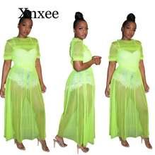 Прозрачное Сетчатое сексуальное Макси платье женская одежда