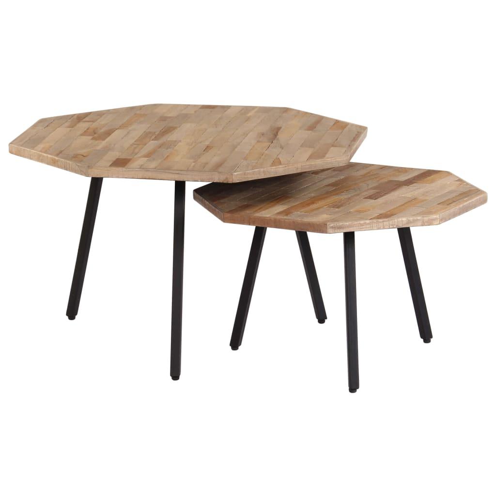 VidaXL 2 Piece Coffee Table Set Hexagon Reclaimed Teak