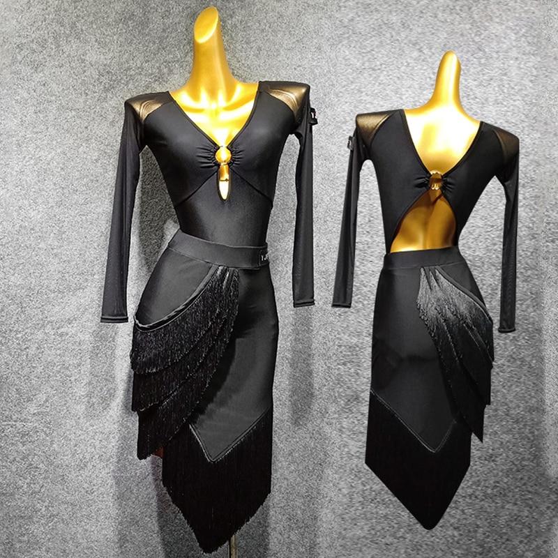 Fashion Latin Dance Costume Set Women Long Sleeve Dress Latin Competition Leotard+Skirt Fringe Dress Salsa Latin Dance Dress