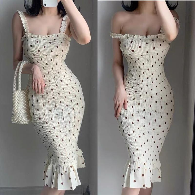 Summer pastoral storm point strap dress strapless sleeveless slim waist waist fishtail dress Midi dress chiffon