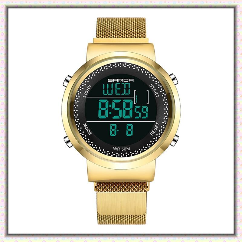 Stainless Steel Milan Men's Digital Watches Ladies Multi-function 5Bar Waterproof Women Electronic Wristwatch Relogio Masculino