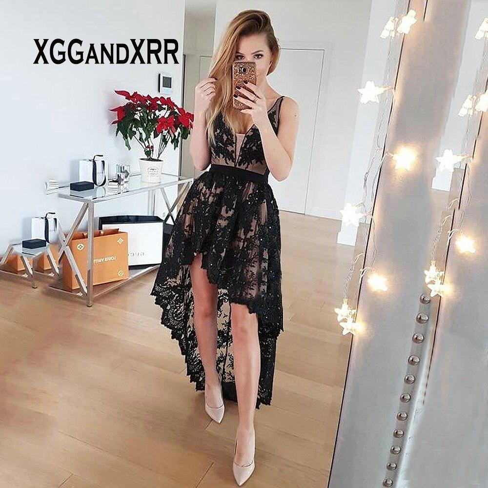 Sexy a-ligne v-cou taille basse haute basse dentelle noire robe de retour avec perles devant court dos Long dos nu courte robe de bal
