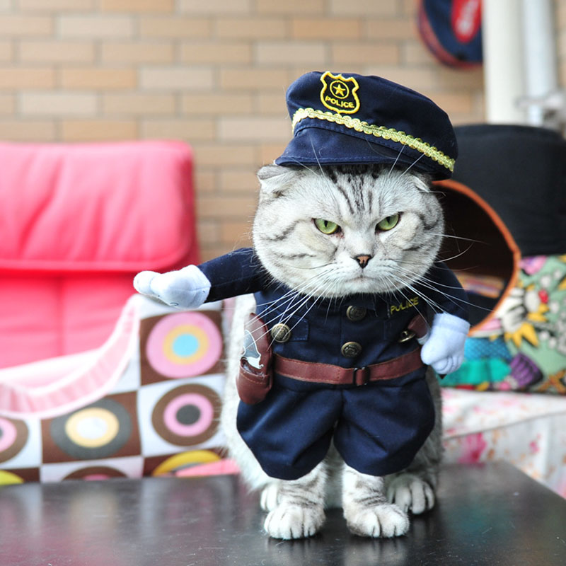 8 Patterns Funny Halloween Cat Costume Nurse Police Doctor Cosplay Suits For Small Cats Dogs Chihuahua Pet Puppy Uniform Clothes